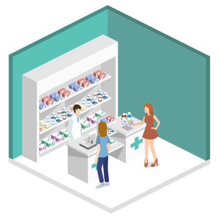 Isometric 3D vector illustration pharmacy store with customers. Shelves with medicines and antibiotics.