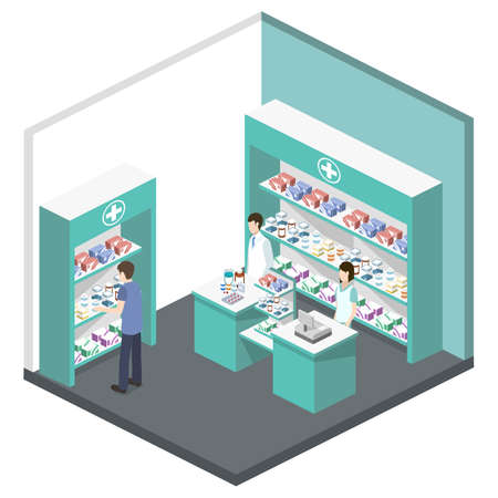 Isometric 3D vector illustration pharmacy store with customers