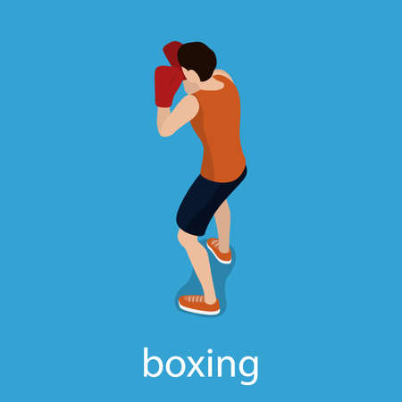 A man is training a blow. The man is engaged in boxing Isometric 3D vector illustration