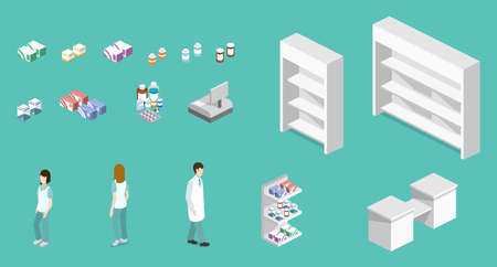 Isometric 3D vector illustration pharmacy store set of object