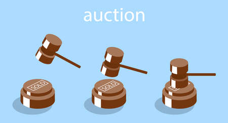 Isometric vector illustration auction and bidding concept. Sale of the lot at auction. Big auction hammer. Illustration