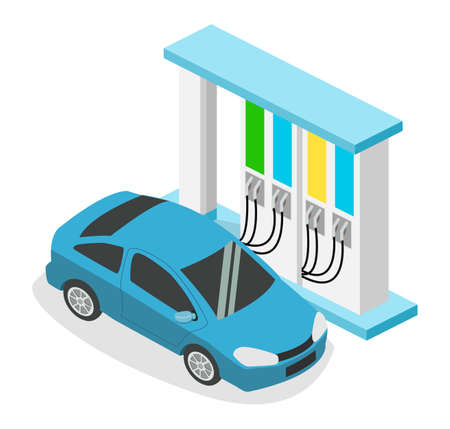 Isometric 3D vector illustration petrol station, gas station for cars 矢量图像