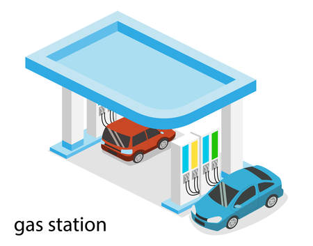 Isometric 3D vector illustration petrol station, gas station for cars Stock Illustratie