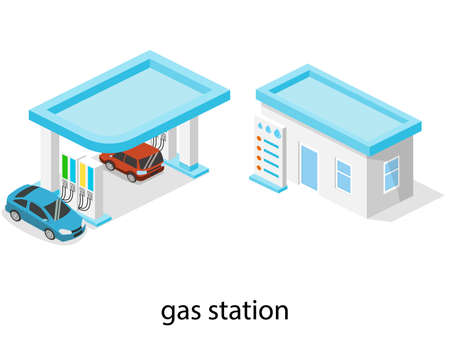 Isometric 3D vector illustration petrol station, gas station for cars Vectores