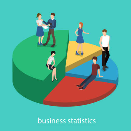 Isometric 3D vector illustration Business concept teamwork and the progress of their work expressed in statistics