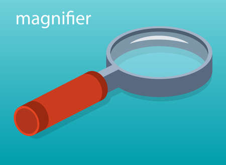 Isometric 3D vector illustration of magnifying glass. Magnifier to increase the image. Approximation of the picture.