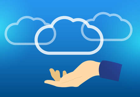 Flat vector illustration Cloud storage hosting blue background with shine and hand Vectores