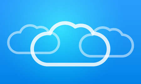 Flat vector illustration Cloud storage hosting blue background with shine Vectores
