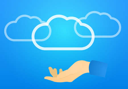 Flat vector illustration Cloud storage hosting blue backdrop with shine and light complexion hand