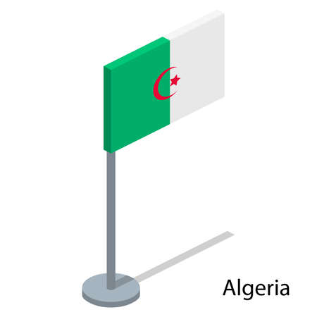 Isometric 3D vector illustration flags of countries collection. Flag of Algeria