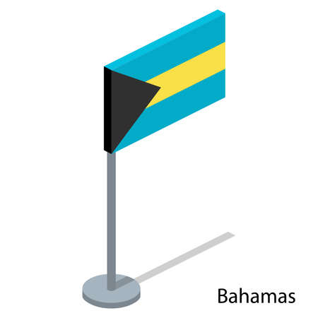 Isometric 3D vector illustration flags of countries collection. Flag of Bahamas