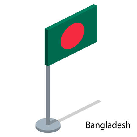 Isometric 3D vector illustration flags of countries collection. Flag of Bangladesh Stock Illustratie