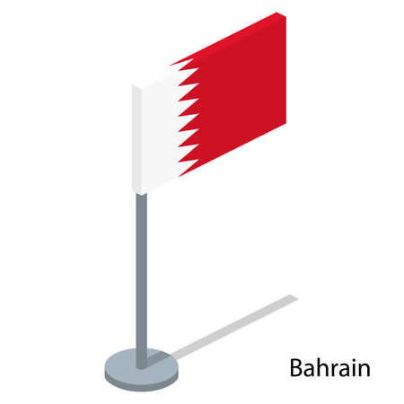 Isometric 3D vector illustration flags of countries collection. Flag of Bahrain