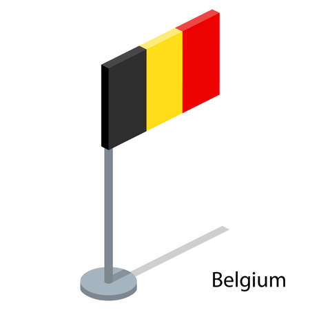 Isometric 3D vector illustration flags of countries collection. Flag of Belgium