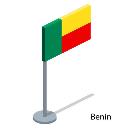 Isometric 3D vector illustration flags of countries collection. Flag of Benin