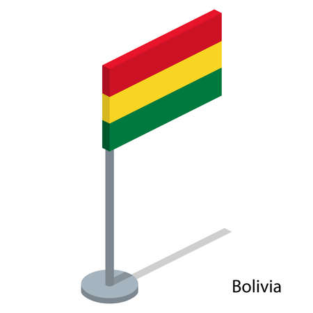 Isometric 3D vector illustration flags of countries collection. Flag of Bolivia