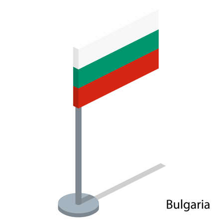 Isometric 3D vector illustration flags of countries collection. Flag of Bulgaria Illustration