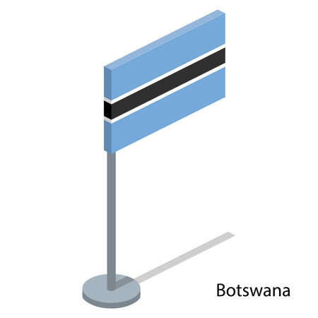 Isometric 3D vector illustration flags of countries collection. Flag of Botswana Illustration