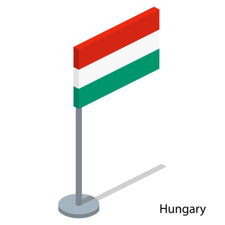 Isometric 3D vector illustration flags of countries collection. Flag of Hungary