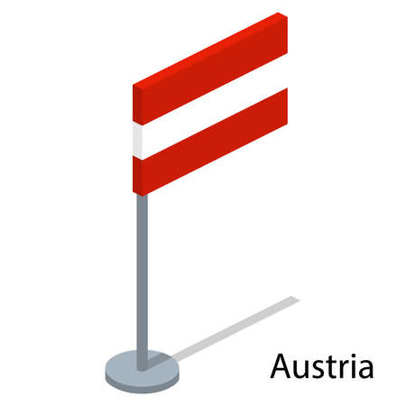 Isometric 3D vector illustration flags of countries collection. Flag of Austria Illustration