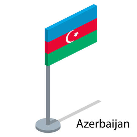 Isometric 3D vector illustration flags of countries collection. Flag of Azerbaijan