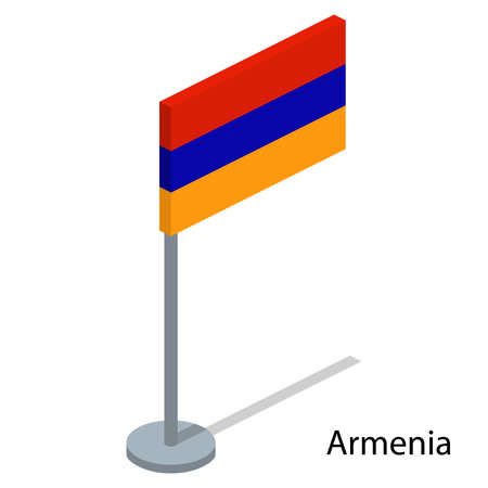 Isometric 3D vector illustration flags of countries collection. Flag of Armenia Illustration