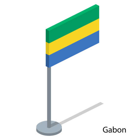 Isometric 3D vector illustration flags of countries collection. Flag of Gabon