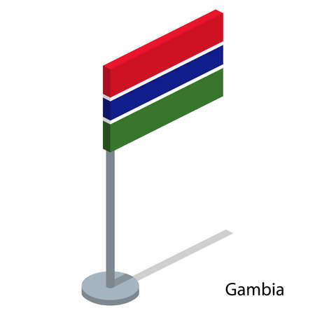Isometric 3D vector illustration flags of countries collection. Flag of Gambia