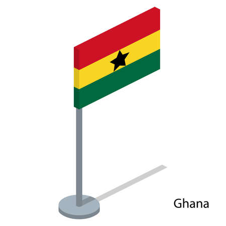 Isometric 3D vector illustration flags of countries collection. Flag of Ghana