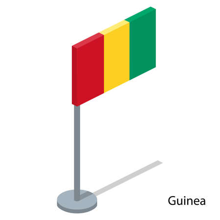 Isometric 3D vector illustration flags of countries collection. Flag of Guinea