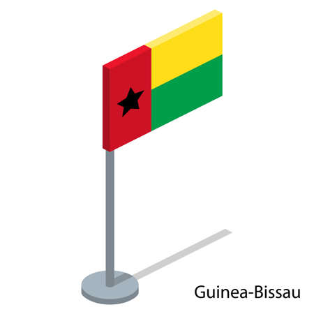 Isometric 3D vector illustration flags of countries collection. Flag of Guinea-Bissau Illustration