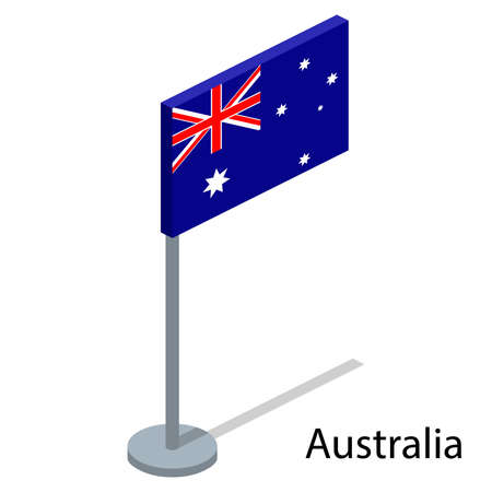 Isometric 3D vector illustration flags of countries collection. Flag of Australia