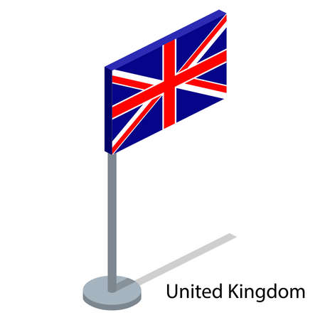 Isometric 3D vector illustration flags of countries collection. Flag of United Kingdom