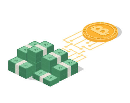 Isometric 3D vector illustration exchange of crypto currency for real money Illustration