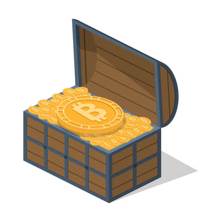 Isometric 3D vector illustration concept a chest with a crypto currency Stock Illustratie