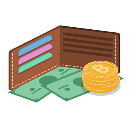 Isometric 3D vector concept a purse with money, cards and crypto currency