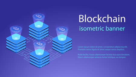 Isometric 3D vector illustration data processing, technology, storage and data exchange Illustration