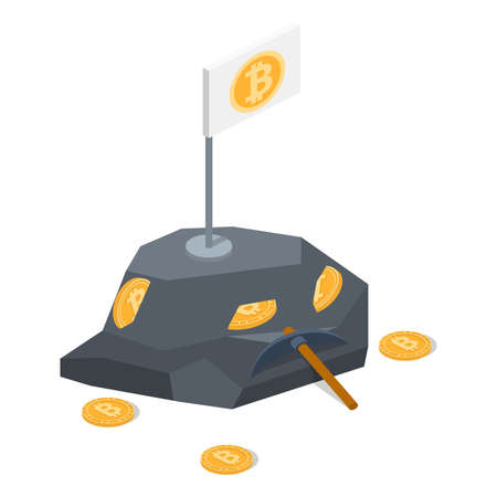 Isometric 3D vector illustration extraction of crypto currency. Mining bitcoin. Crypto currency deposit
