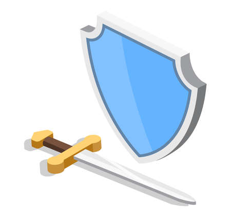 Isometric 3D vector sword and shield. Protection from enemies.