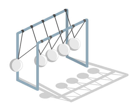Isometric 3D vector illustration concept pendulum. The movement of balls.