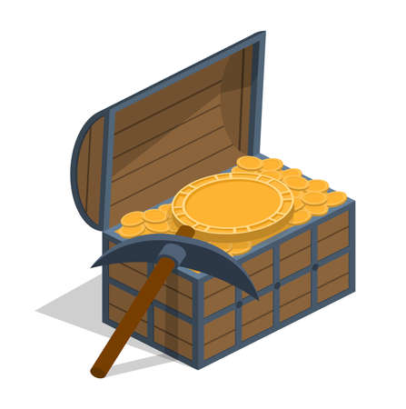 Isometric 3D vector illustration chest with gold and pickax. Treasure hoard.