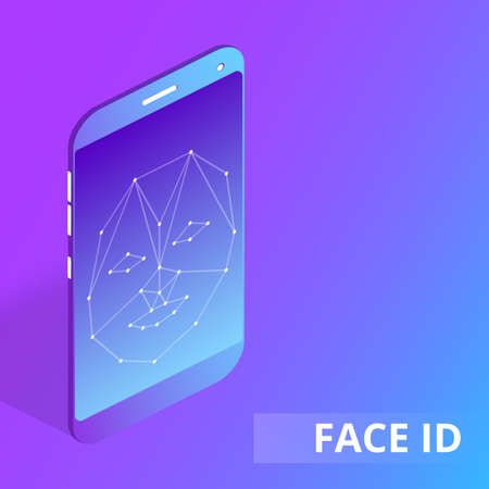 Isometric 3D vector illustration face detection or recognition with smartphone. Smart technologies