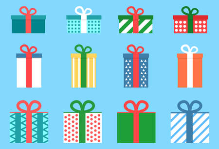 Flat vector illustration set of gift boxes. Christmas presents