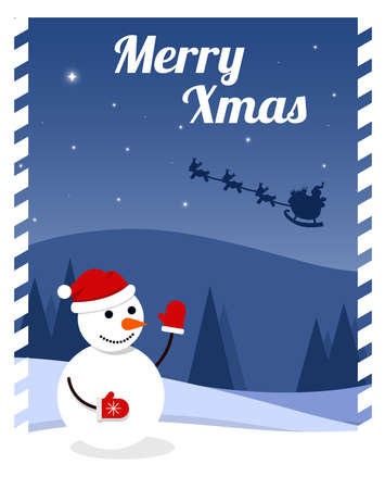 Flat vector illustration cartoon Christmas card with winter landscape