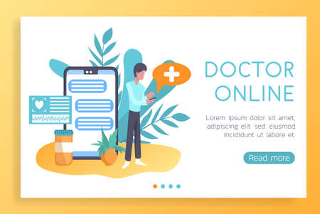 Vector illustration web design mockup of medical landing site. Call and consult a doctor online. Modern vector design for web sites and mobile applications