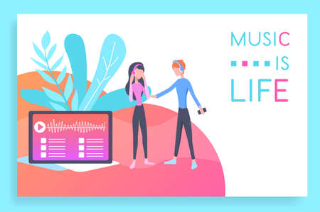 Vector illustration web design mockup of Life with music. Web site concept for music programs and applications. Modern vector design for web sites and mobile applications Иллюстрация