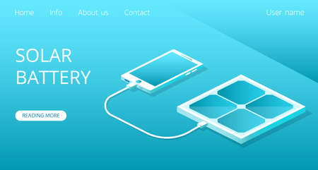 Landing website Powerbank working on the solar battery. The phone is charging from the solar panel concept isometric 3D vector