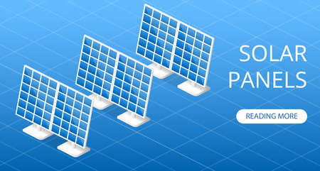Landing website concept Solar panels for environmental protection vector 3D illustration isometric Illustration
