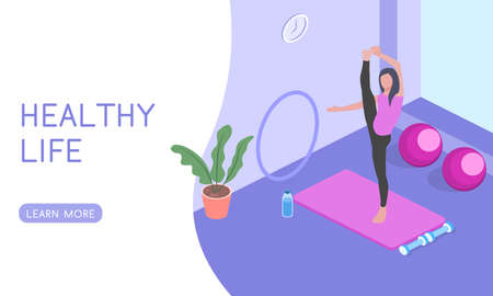 Landing for the website Yoga and Pilates classes, people play sports isometric 3D vector illustration. Stock Illustratie