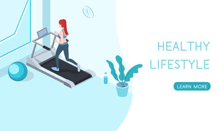 Landing website for a healthy lifestyle, people play sports isometric 3d vector illustration.